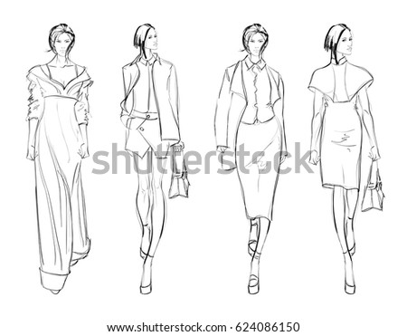 Sketch. Fashion Girls on a white background
