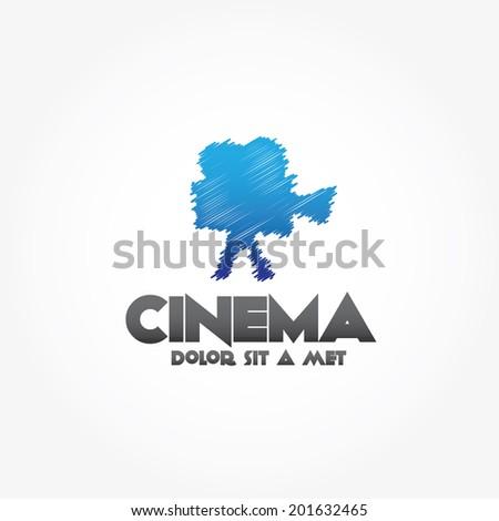 sketch film camera vector design template