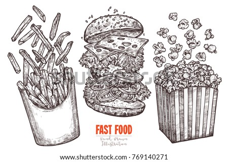 Sketch flying fast food collection with classic burger, box with french fries and popcorn with levitation ingredients. Vector monochrome hand drawn illustration for menu, advertising, banners