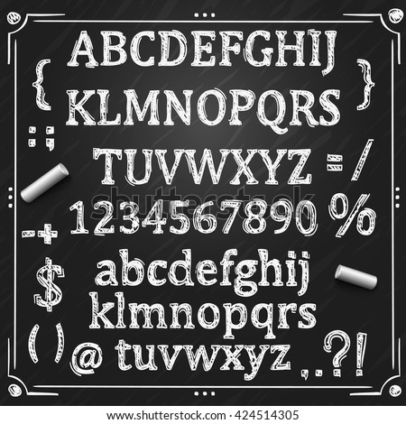 Sketch font, Board with a set of symbols, Chalkboard sign, Vector illustration.