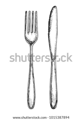 sketch fork and knife cutlery vector isolated