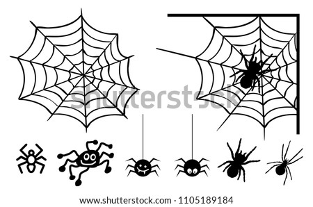 Sketch funny crazy hanging spider cartoon for you design Halloween spider web and spider and small spider isolated on transparent background Vector eps symbool icon illustration pattern silhouette Fun