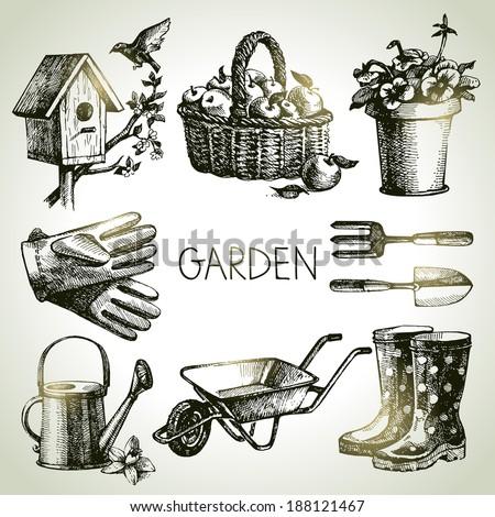 sketch gardening set. hand...