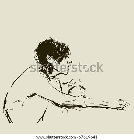 SKETCH.Girl using computer