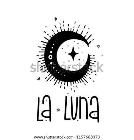 Sketch graphic illustration moon with mystic and occult hand drawn symbols. Vector holiday illustration for Day of the dead Halloween.Astrological and esoteric concept.Old Tattoos. Psychedelic style