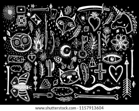 Sketch graphic illustration with mystic and occult hand drawn symbols big set. Vector holiday illustration for Day of the dead or Halloween. Astrological and esoteric concept. Psychedelic style.