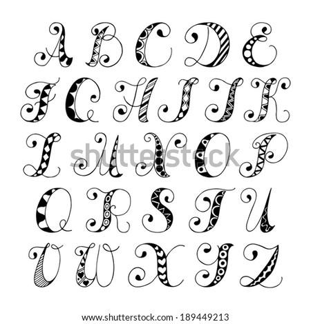 sketch hand drawn alphabet