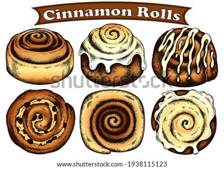 Sketch hand drawn colorful brown cinnamon rolls isolated on white background. Glaze, icing, toppings. Line art cinnabon roll. Cinnamon roll with cream, raisins. Vintage, retro food.Vector illustration