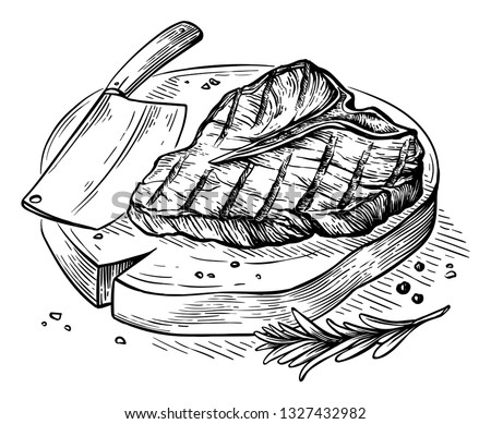 sketch hand drawn Grilled steak T-bone on wooden board with axe vector illustration