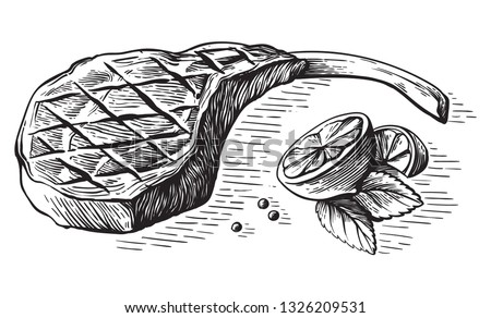 sketch hand drawn Grilled steak tomahawk with lemon and herb vector illustration