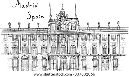 sketch hand drawn madrid spain
