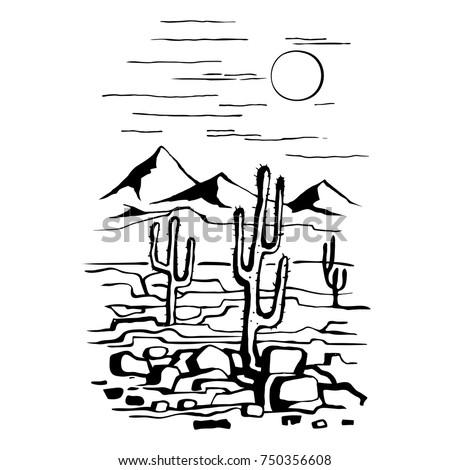 sketch hand drawn of the desert