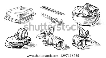 sketch hand drawn sketch hand drawn butter bread butterdish culinary elements vector illustration
