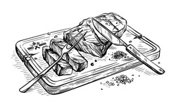 sketch hand drawn Sliced grilled bull steak striploin on wooden board with knife and fork vector illustration