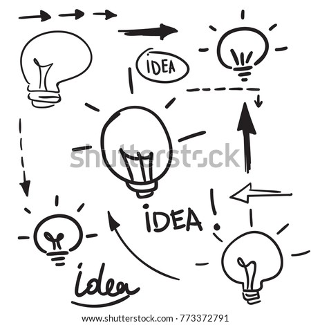 Sketch hand drawn vector doodle Bulb light idea.