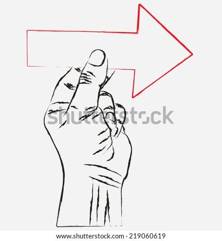 sketch hand visit arrow