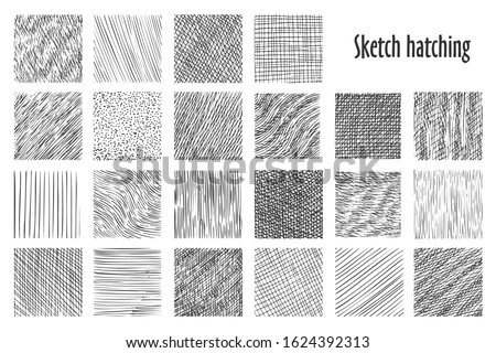 Sketch hatching patterns, abstract hand drawn vector backgrounds. Linear pencil sketch and doodle patterns, crossed, wavy and parallel lines, hatch sketching graphic texture Stockfoto ©