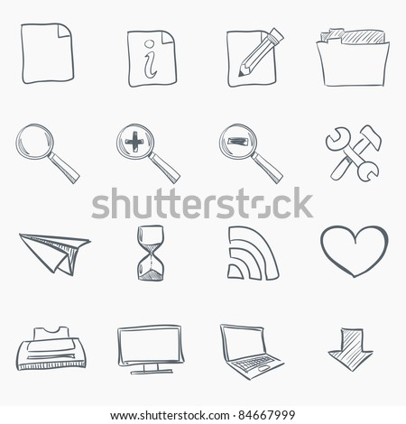Sketch Icon Set Isolated on White Background. Vector EPS8.