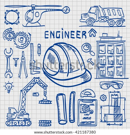 Sketch Icons Engineer drawing style. Engineer icons set. Engineer icons. Vector illustration