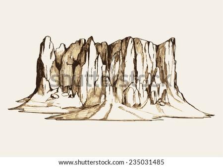 sketch illustration of a rocky