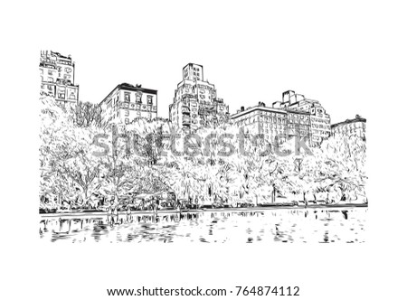 Sketch illustration of Central Park, New York City, USA in vector.
