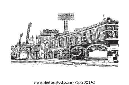 Sketch illustration of Fenway Park Boston, USA in vector.