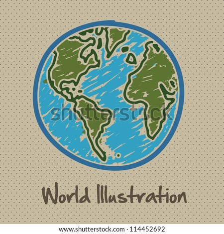 sketch illustration of planet earth, isolated on dots background, vector illustration