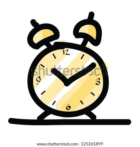 sketch illustration of the alarm clock - stock vector