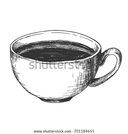 Sketch ink graphic cup of coffee illustration, draft silhouette drawing, black on white background. Delicious vintage etching food design.