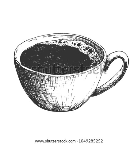 Sketch ink hatching cup of coffee illustration, draft silhouette drawing, black on white background. Delicious vintage etching food design.