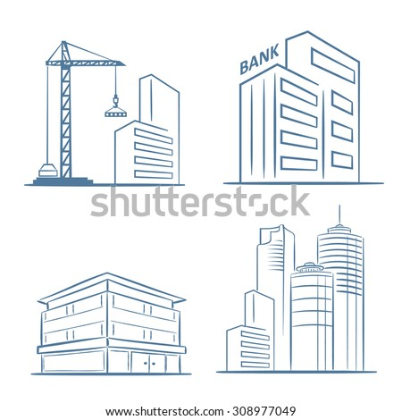 Sketch line flat design of business city architecture, commercial building and construction, bank and small firm office. Modern vector illustration concept, isolated on white background.