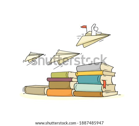 Sketch little man with many books. Doodle cute miniature scene about reading. Hand drawn cartoon vector illustration for education design.