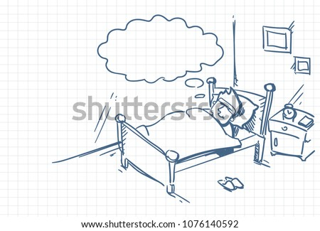 sketch man sleeping dream in