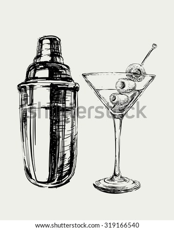 sketch martini cocktails with