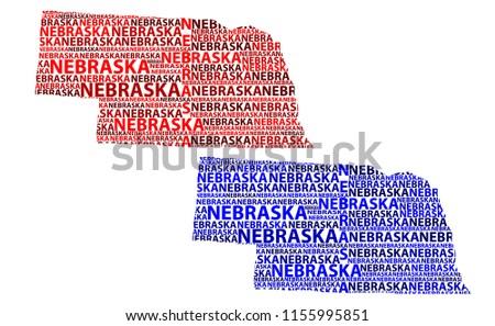 Sketch Nebraska (United States of America, Cornhusker State) letter text map, Nebraska map - in the shape of the continent, Map Nebraska - red and blue vector illustration
