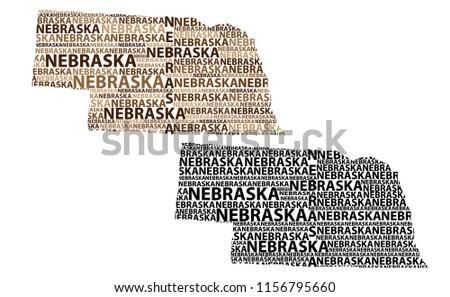 Sketch Nebraska (United States of America, Cornhusker State) letter text map, Nebraska map - in the shape of the continent, Map Nebraska - brown and black vector illustration