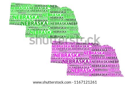 Sketch Nebraska (United States of America, Cornhusker State) letter text map, Nebraska map - in the shape of the continent, Map Nebraska - green and purple vector illustration