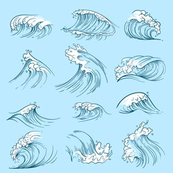 Sketch ocean waves. Hand drawn marine vector tides. Wave water storm sea illustration