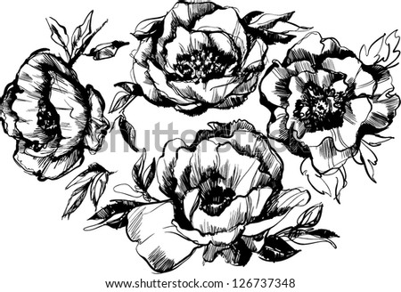 sketch of a beautiful wreath of flowers peonies