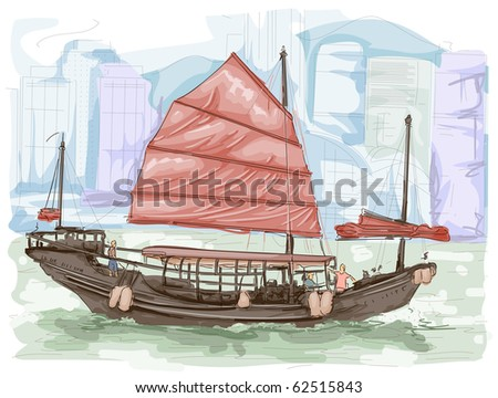 Sketch of a Boat Sailing the Waters of Hongkong