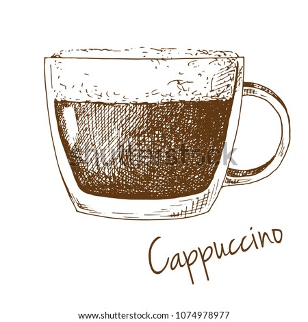 Sketch of a cup of coffee with foam. Inscription cappuccino. Vector illustration of a sketch style.