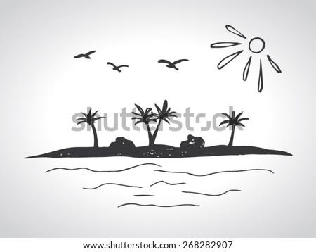 sketch of a desert island