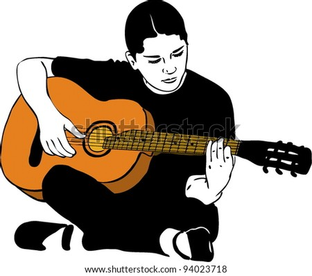 Guitarist Girl Drawing Sketch of a Girl Playing on an