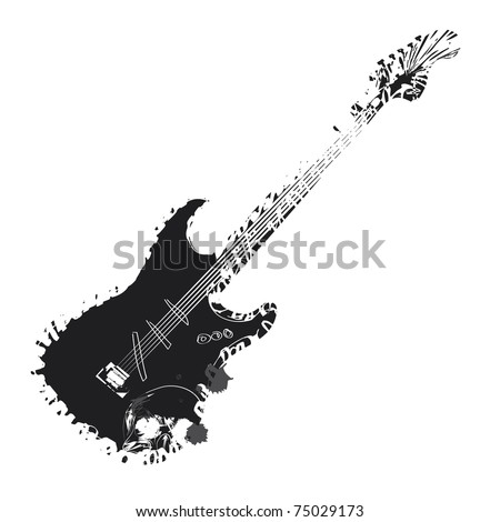 Sketch of a guitar with a skull