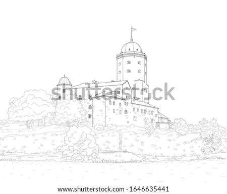 sketch of a medieval castle in