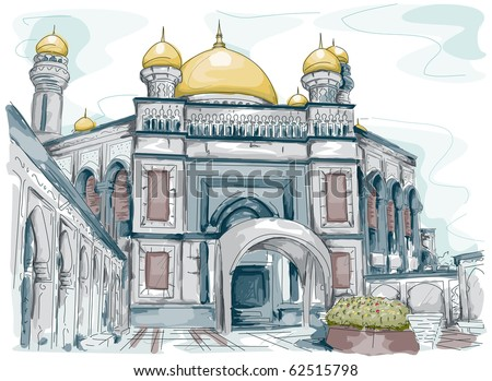 Sketch of a Mosque in Brunei