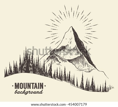 sketch of a mountain with fir