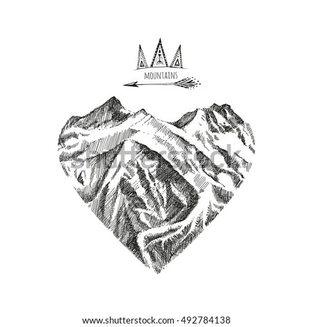 sketch of a mountains  hand