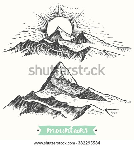 sketch of a mountains  sunrise