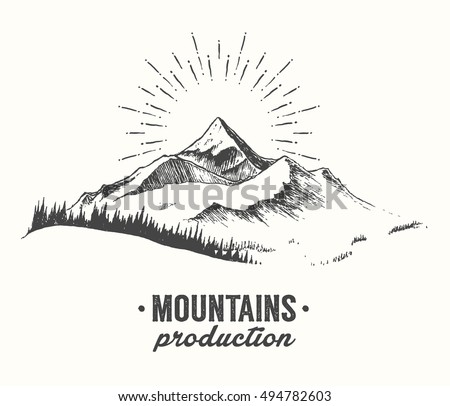 Sketch of a mountains with fir forest, sunrise/sunset, engraving style, hand drawn vector illustration